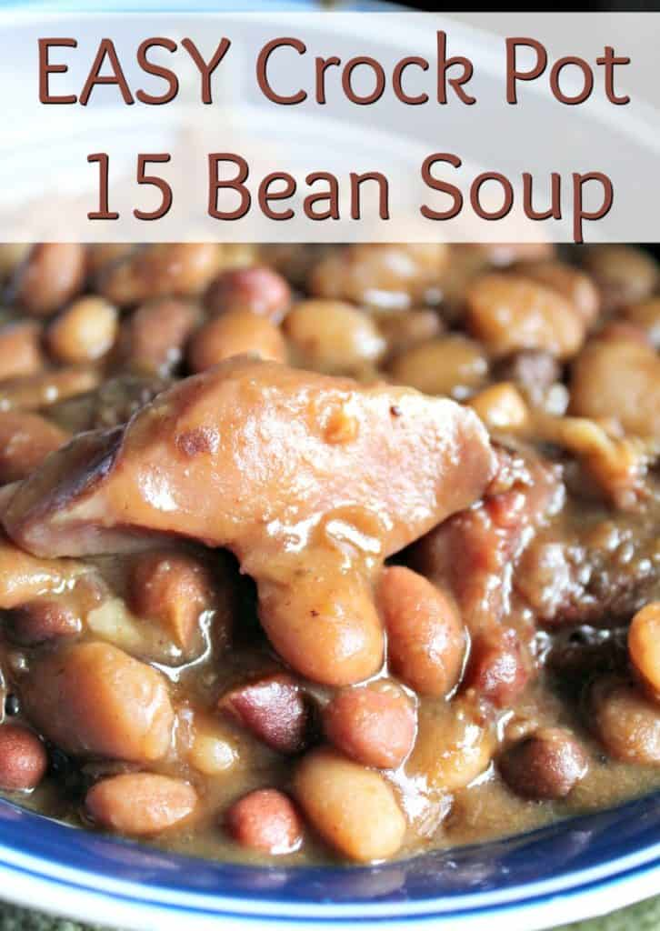 This No Soak Crock Pot 15 Bean Soup Recipe is perfect for meal planning. It is an easy recipe you can set and forget. Use up a holiday ham with this soup and you are sure to get a flavorful dinner. - #recipe #crockpot #crockpotrecipe