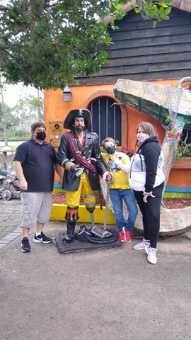 Family at Pirate's Cove Miniature Golf