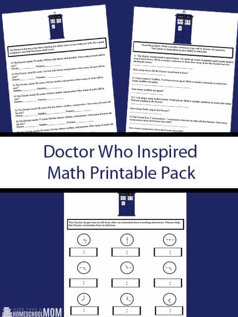 Doctor Who Inspired Math Printable Pack - Whether you say Doctor Who Math or Doctor Who Maths this printable is still for you. - #DoctorWho #math #DoctorWhoMath #education #edchat #homeschool #homeschooling