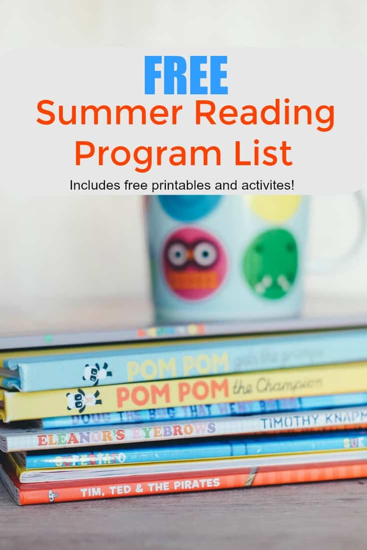 Free Summer Reading Program List - Includes free summer reading printables and activities as well as reading logs.
