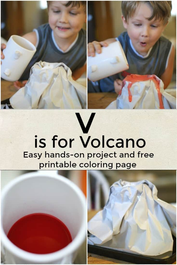 V is for Volcano - Easy hands-on project and free printable coloring page