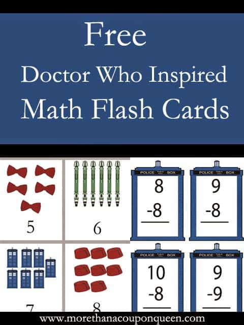 Free Doctor Who Inspired Math Flash Cards - Are your children having a hard time with their Math facts or number recognition? I have put together some fun Doctor Who Inspired Math flash Cards just for you. Even better, they are free. My only request is that you share them with your Doctor Who loving friends if you like them. I will put links below for each set. I highly recommend laminating them so they will last you long term.
