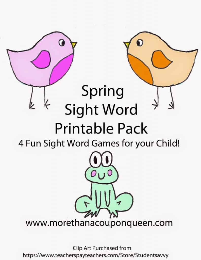 Spring Sight Word Printable Pack - 4 fun sight word games for children - Great way to work on sight words with kids in this free printable pack