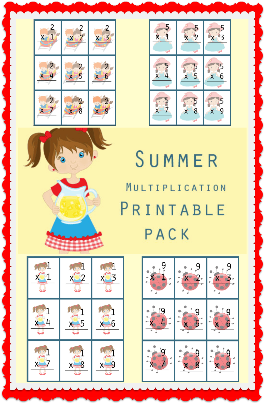 Summer Multiplication Facts Printable Pack