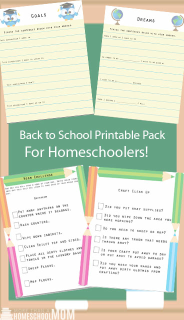 Back to School Printable Pack for Homeschoolers - Love the clean up ideas!