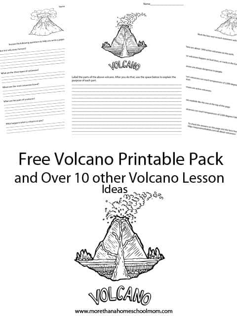 Free Volcano Printable Pack and over 10 volcano lesson plan ideas for teaching about volcanoes. Perfect for a volcano science fair project. #printable #freeprintable #unitstudy #lessonplan #homeschool #homeschooling #education #edchat #volcano #Science #stem
