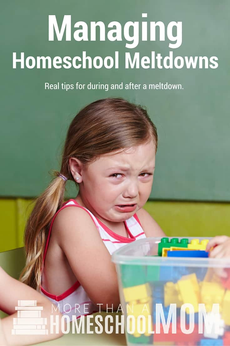 Managing Homeschool Meltdowns - Homeschool tantrums can be hard to handle but there are some tips for managing homeschool meltdowns without losing your cool. - #homeschool #homeschoolencouragement #parenting #homeschooltips