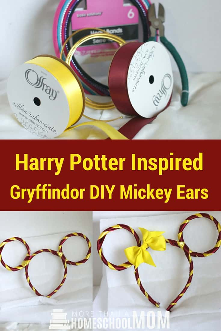 Harry Potter Inspired Gryffindor DIY Mickey Ears - #HarryPotter #Mickey #Disney #DisneyTrip #DisneyDIY #MickeyEars #DisneyDIY
