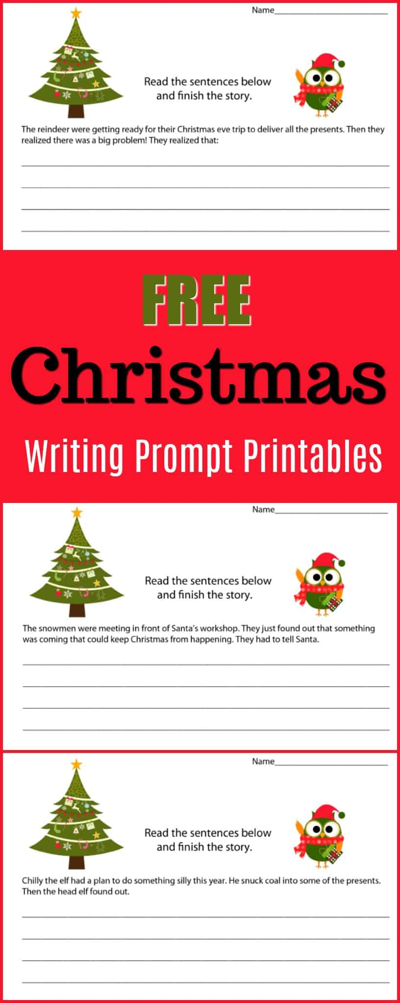 Free Christmas Writing Prompt Printables - Get kids writing stories with these fun Christmas writing prompts. The free printables are perfect for a classroom Christmas project or for a homeschool Christmas writing assignment. They would also make a fun holiday writing project. - #holiday #writing #writingprompt #holiday #printable #freeprintable #education #edchat #homeschool #homeschooling #christmas