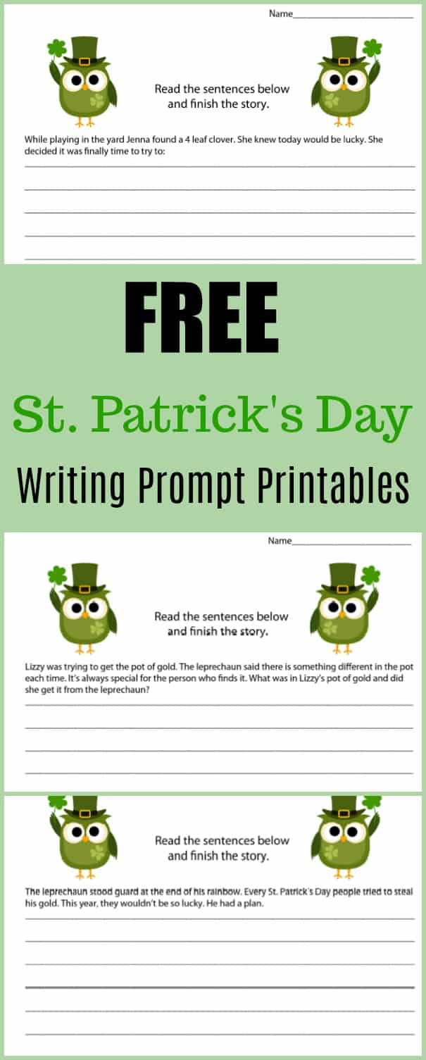 Free St. Patrick's Day Writing Prompt Printables - #writing #writingprompt #holiday #printable #freeprintable #education #edchat #homeschool #homeschooling #stpatricksday