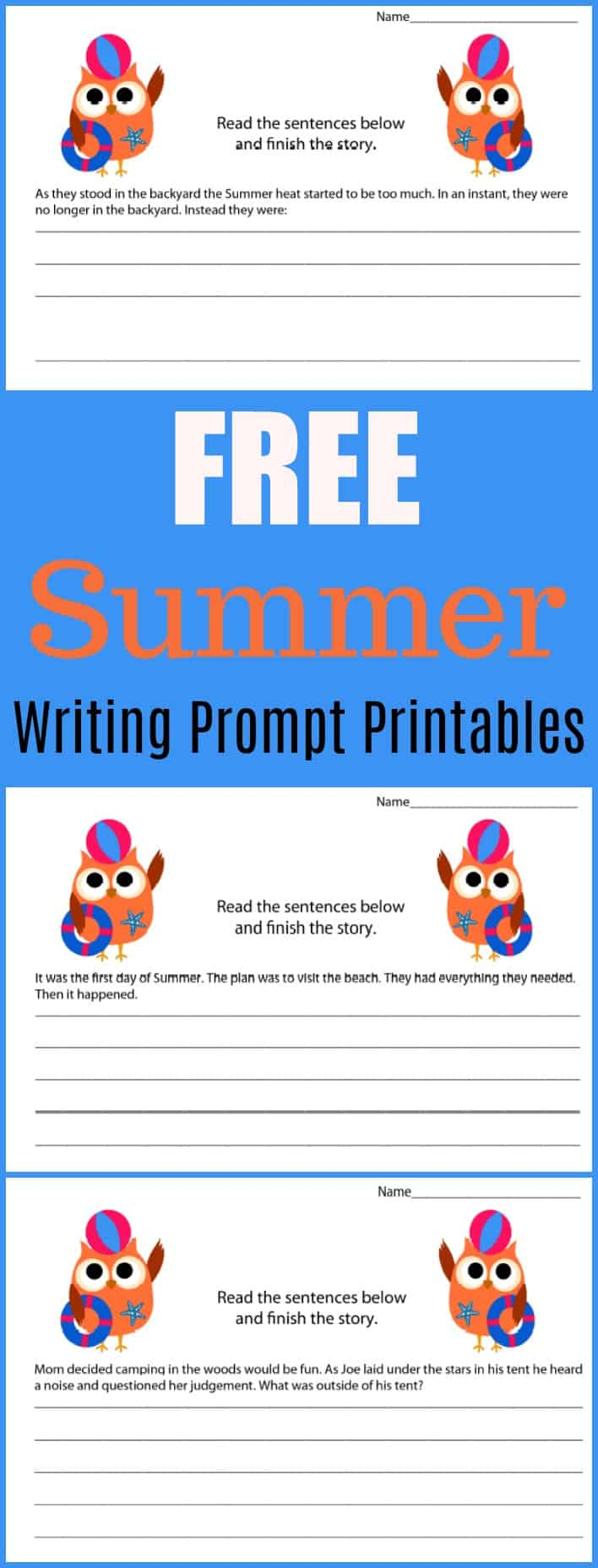Free Summer Writing Prompt Printable - #writing #writingprompt #holiday #printable #freeprintable #education #edchat #homeschool #homeschooling #summer