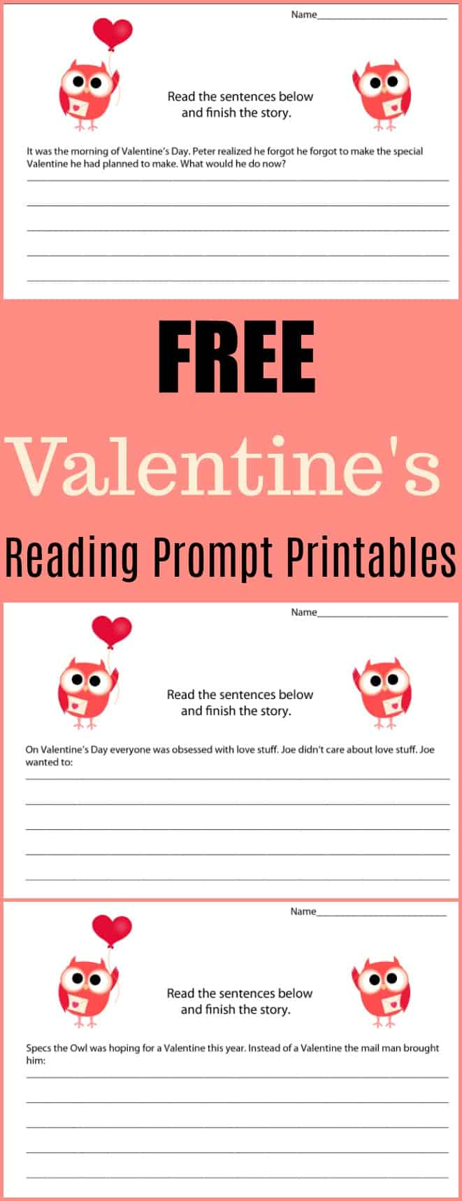 Free Valentine's Writing Prompt Printables #writing #writingprompt #holiday #printable #freeprintable #education #edchat #homeschool #homeschooling #valentinesday