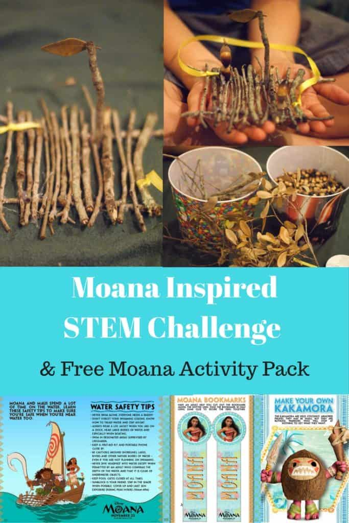Moana Inspired STEM Challenge and free moana activity pack