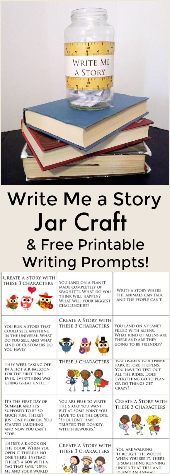 Write Me a Story Jar Craft and Free Printable Writing Prompts - Get kids writing with this fun printable and craft. These writing prompts will help kids start writing. Perfect printable for teachers or families. - #writing #homeschool #freeprintable #writingprompts #education #edchat #summerwriting #writing #freeprintable #educationalprintables