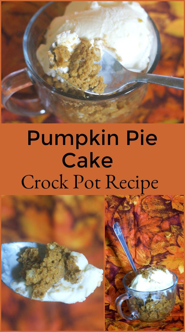 Pumpkin Pie Cake Crock Pot Recipe - All the amazing flavors of a pumpkin pie with the texture and ease of a cake. This recipe is INCREDIBLE! It's also a really easy crock pot recipe. #recipe #dessertrecipe #pumpkinrecipe #pumpkin #dessert