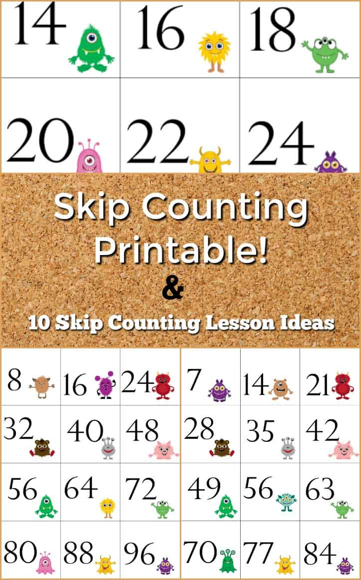 Skip Counting Resources - Skip Counting Printable and 10 Skip counting Lesson Ideas - #Math #homeschool #homeschooling #homeschoolmath #skipcounting #freeprintable #printable #resources