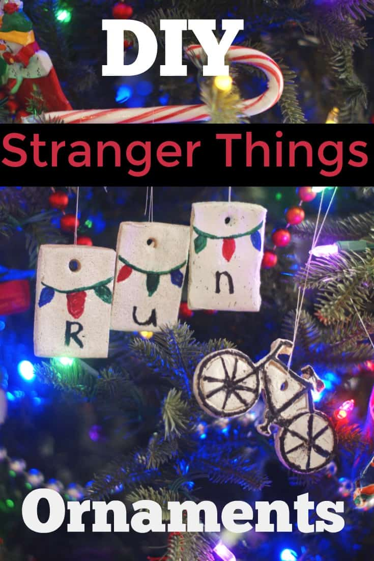DIY Stranger Things Ornaments - Perfect Stranger Things craft for fans of the show. This would make a great gift for a Stranger Things fan. This simple salt dough ornament project is perfect for teens who love Stranger Things. Make Will Byers' bike or the Christmas lights telling Joyce Beyers to run. - #StrangerThings #Ornament #DIY #DIYChristmas