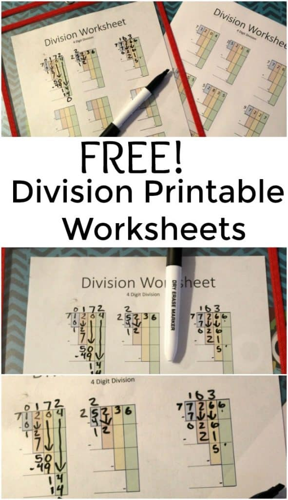 Free Division Printable Worksheets - Great new way to teach long division. #Math #Homeschool #Edchat #education #freeprintable
