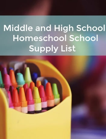Middle and HIgh School Homeschool School Supply List
