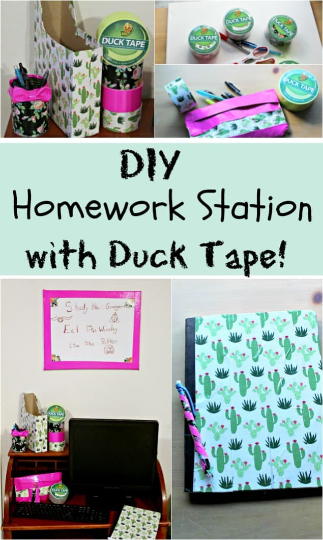Homework Station DIY with Duck Tape - #homework #school #decoration #ducktape