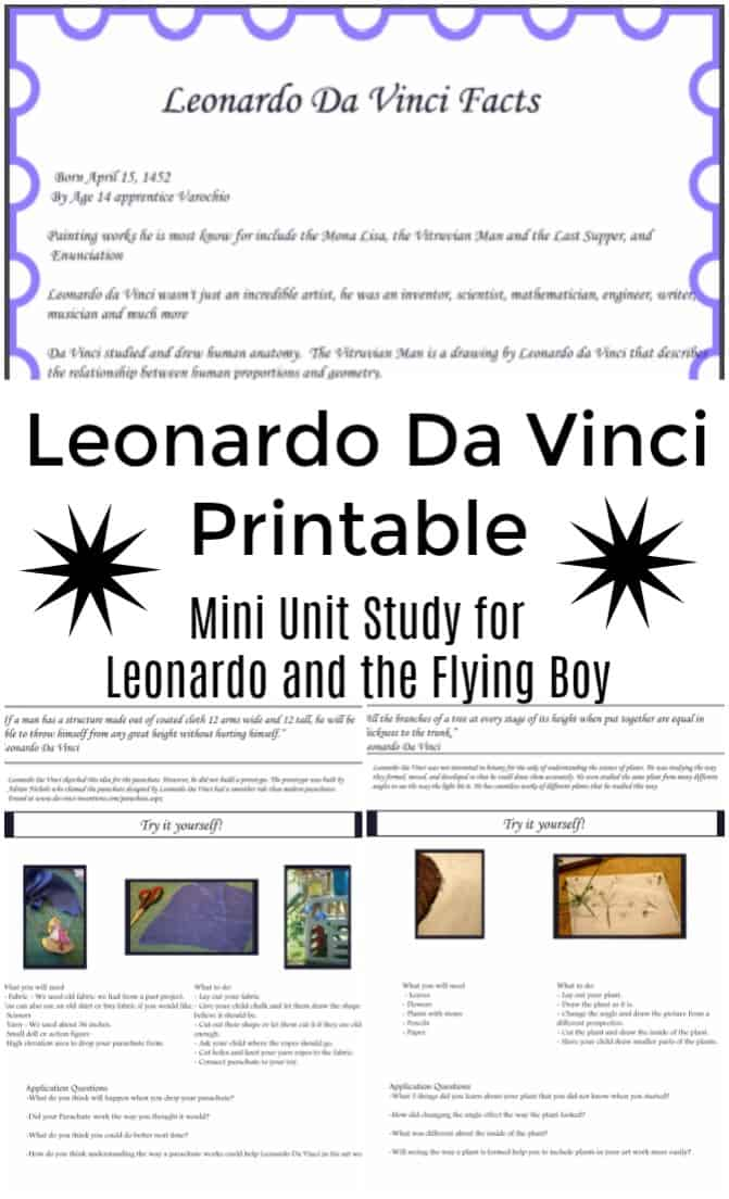 Leonardo Da Vinci Printable to go with the book Leonardo and the Flying Boy