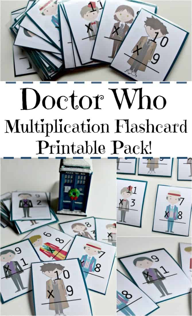 Doctor Who Multiplication Flash Cards - Looking for a way to work on math facts? (maths facts?) Check out these Doctor Who flashcards you can print and laminate for free!