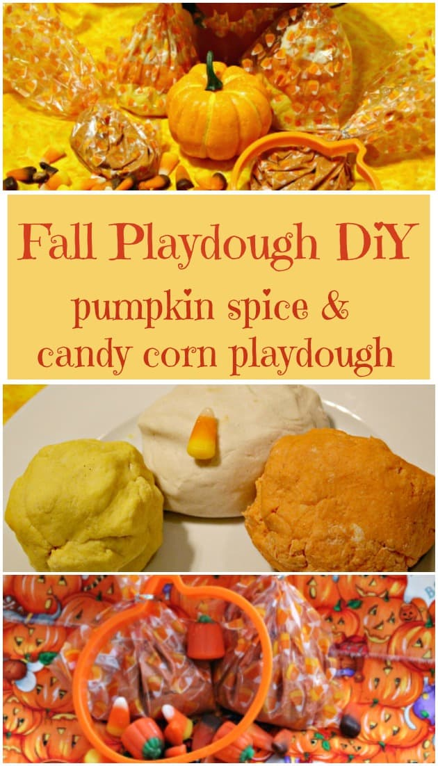 Fall Playdough DIY - Make your own pumpkin spice playdough or candy corn playdough. It smells amazing and it is easy to make. Have fun with this fall playdough.