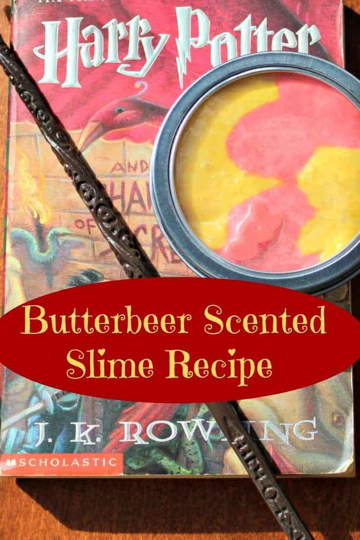 Looking for a Harry Potter gift idea? Don't miss this butterbeer slime recipe that is sure to please any Harry Potter fan. This easy slime recipe smells incredible and makes a great stocking stuffer or gift. It would also be an awesome party favor for a Harry Potter Birthday party. #harryPotter #HarryPotterParty #BirthdayParty #BirthdayPartyFavors #partyFavors #Slime #SlimeRecipe #HarryPotterGift #KidsActivity #KidsActivities #stem #experiment #butterbeer