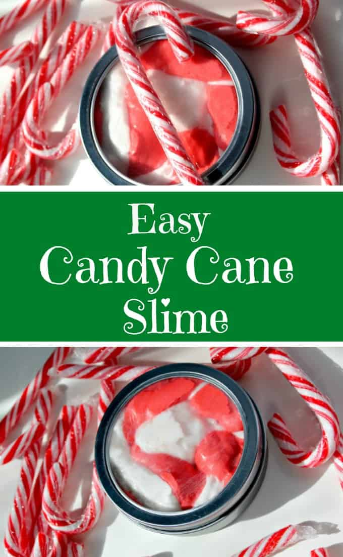 This easy candy cane slime is the perfect Christmas science project. Even better, it is extremely easy to make and involves the amazing smell of peppermint. This is NOT edible but it is fun to play with and makes a perfect Christmas stocking stuffer or gift kids can make.