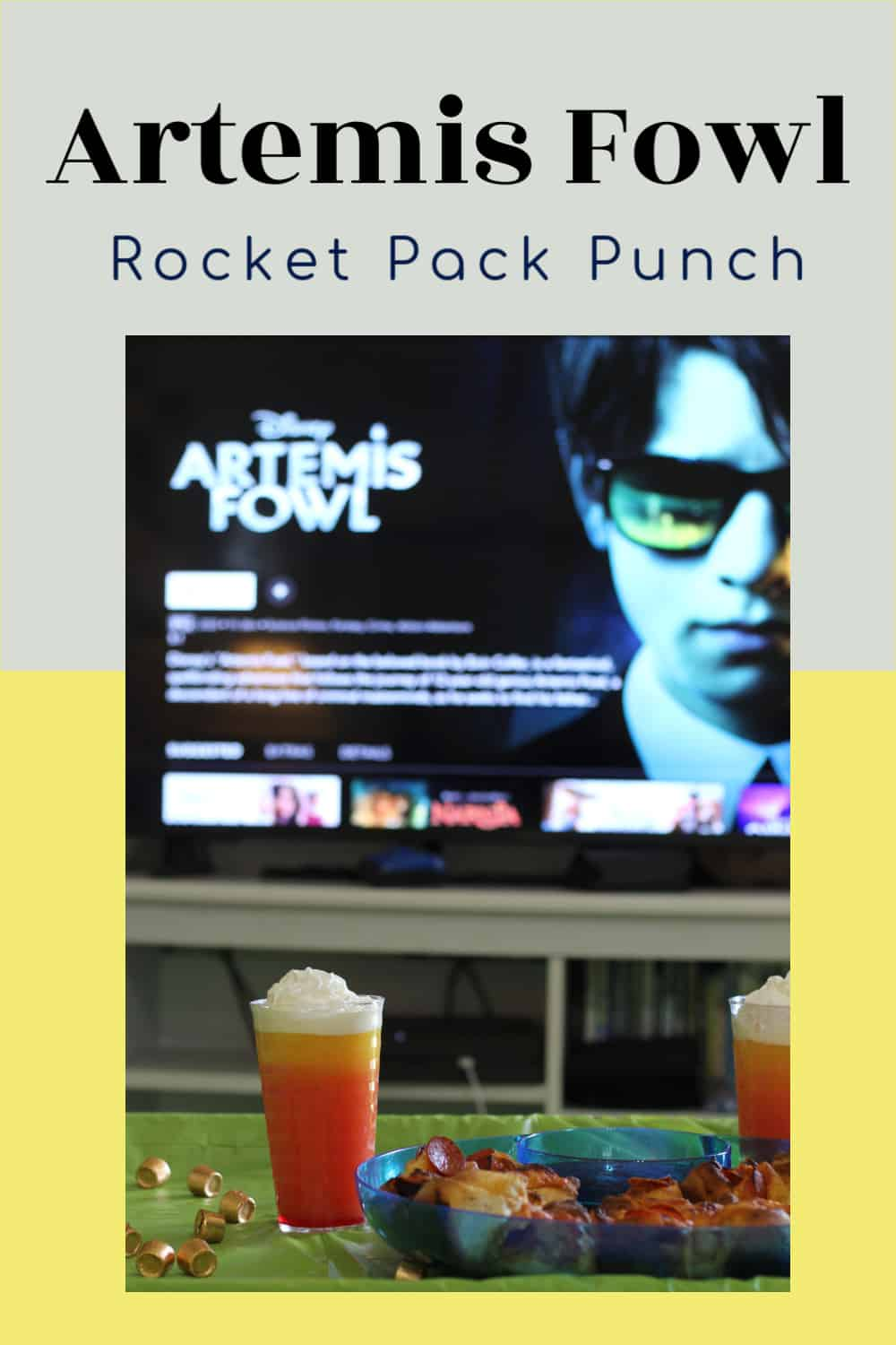 Artemis Fowl Rocket Pack Punch for an Artemis Fowl movie night. Perfect drink for a movie night or just because. Even better, this is and easy recipe that only uses 4 ingredients!