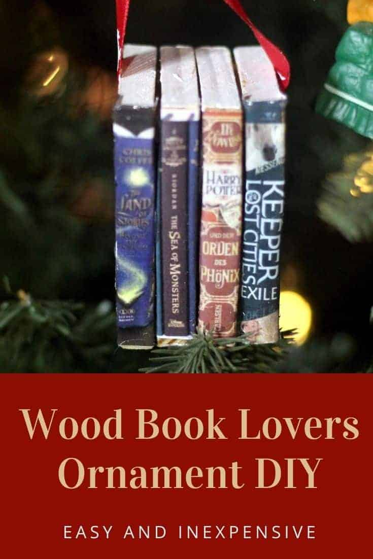 Wood Book Lovers Ornament DIY - Easy DIY Christmas Ornament that is low cost and simple to make. Perfect for DIY Christmas gifts.