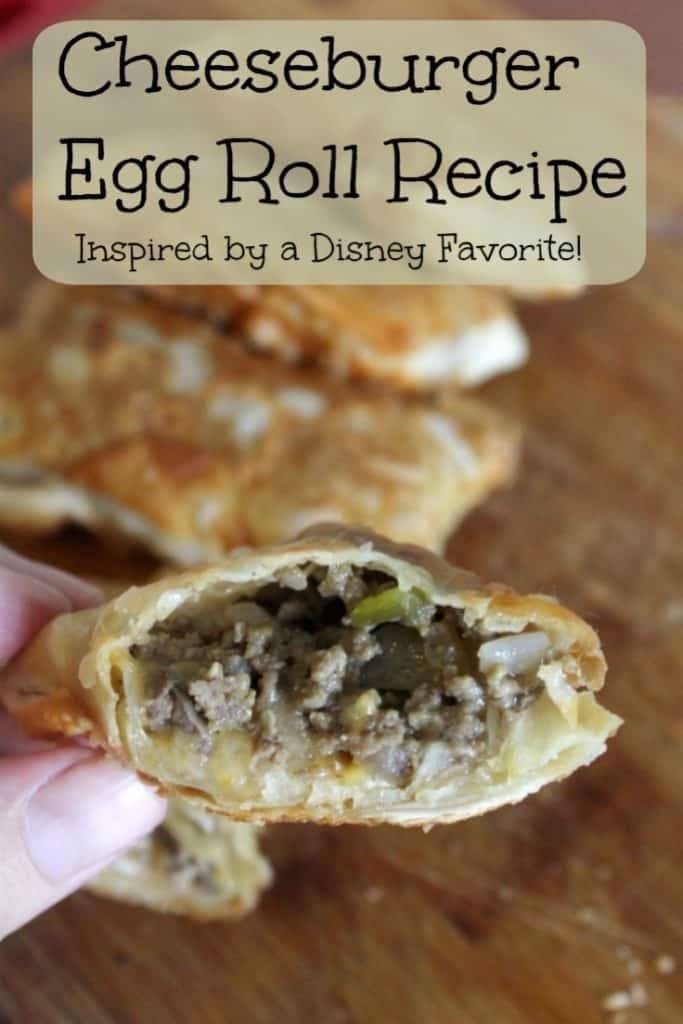 Missing the Disney parks? This Cheeseburger Egg Roll recipe is EASY and is a little taste of Disney you can make at home for your family! This easy recipe is the perfect appetizer or dinner recipe kids are sure to enjoy while parents will love them too! Easy eggroll recipe for families! This easy recipe is quick and delicious! #Recipe
