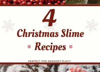 Christmas Slime Recipes perfect for making Christmas gifts, sensory play, & stem project for kids. Sensory Christmas Slime Recipe!