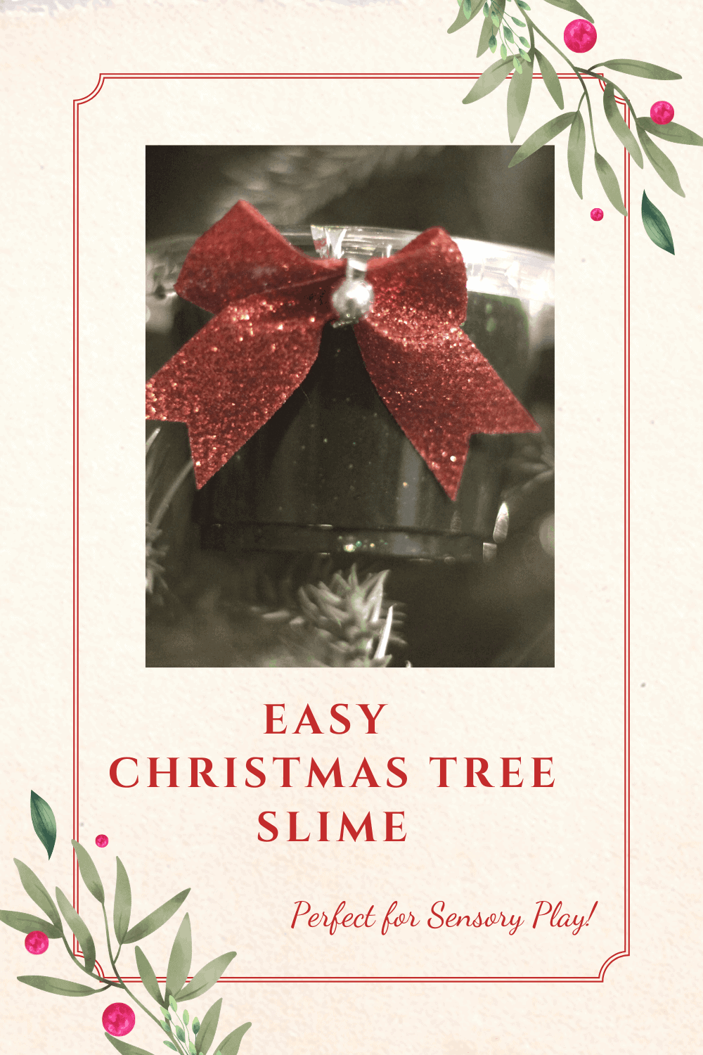 Christmas Tree slime recipe perfect as a Christmas slime recipe or as a holiday party favor idea. Perfect slime for sensory play!