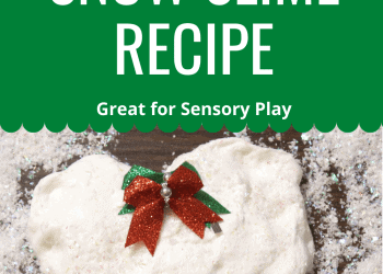 Snow slime recipe perfect as a Christmas slime recipe or as a holiday party favor idea. This snow slime is perfect for sensory play!