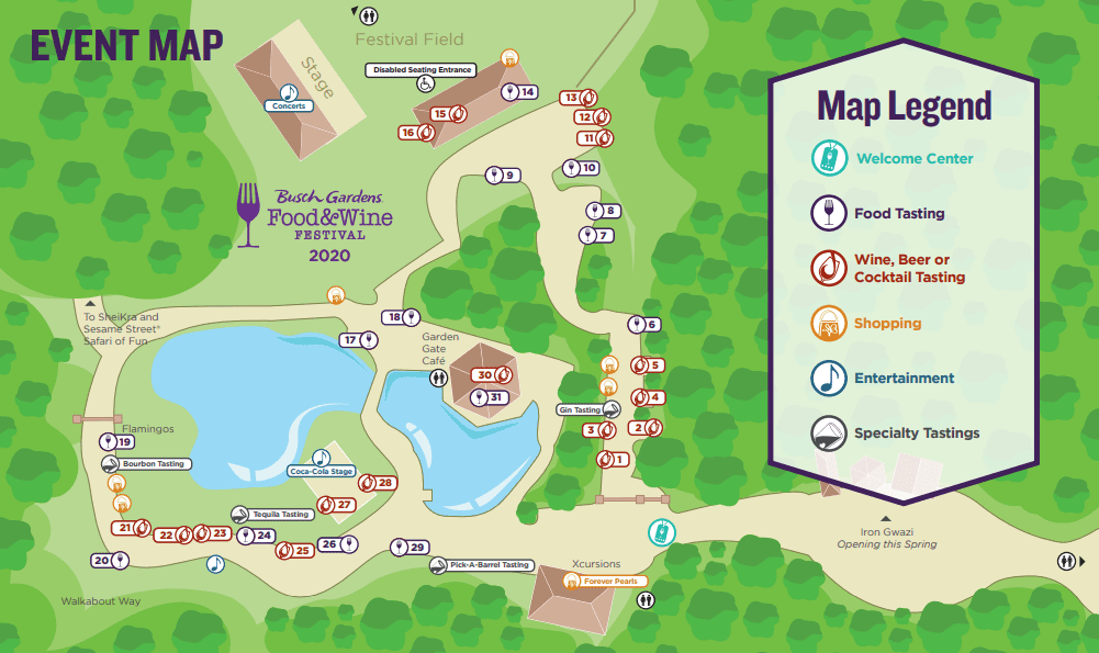 Busch Gardens Food & Wine Festival 2020Food Map