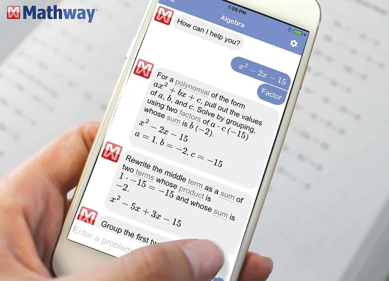 Mathway math app - Learning site to help high schoolers with math