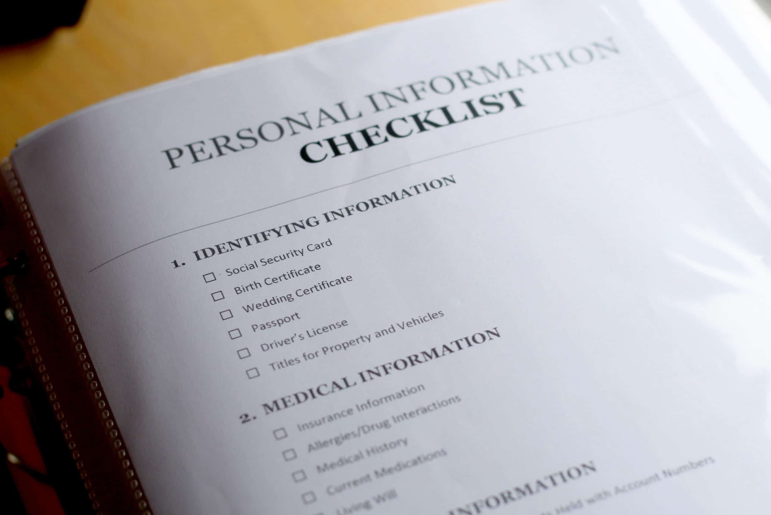 Personal Information Checklist Printable for a Emergency Planner