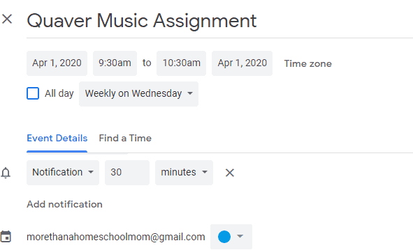 Schedule Settings for google Calendar