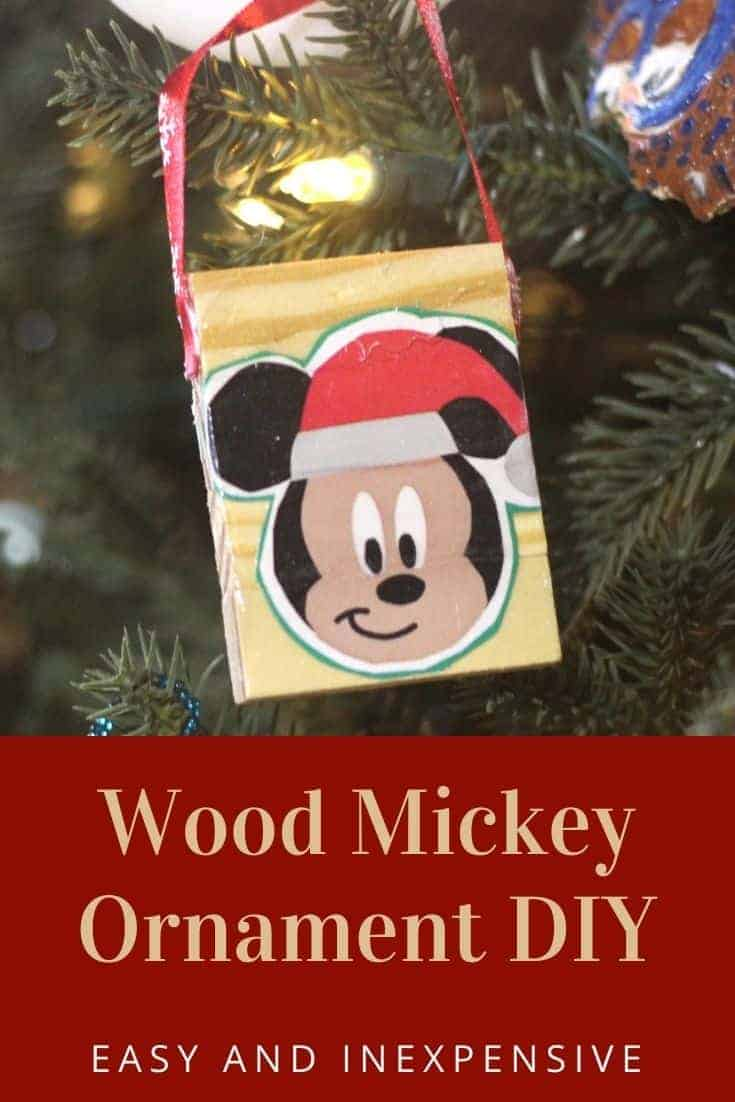 Wood Mickey Ornament DIY - Easy DIY Christmas Ornament that is low cost and simple to make. Perfect for DIY Christmas gifts.
