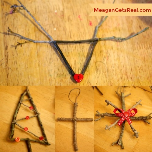 This stick ornament craft is the perfect rustic Christmas gift for anyone! Even better, they are incredibly easy to make with the kids or on your own. This easy rustic ornament is a must!
