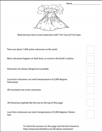 Volcano Printable lesson pack